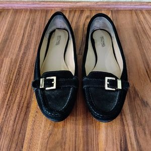 Black Michael Kors suede flats with gold buckle 8